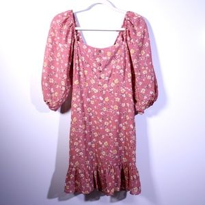 Lulus Floral Smocked Puff Sleeve Dress Pink Small